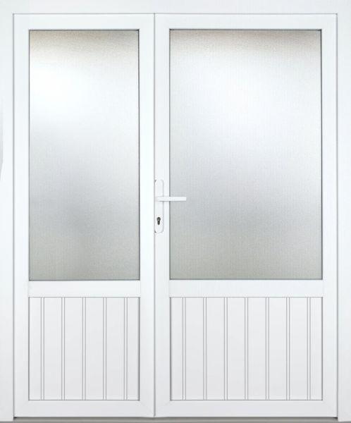 """Kunststoff Nebeneingangstür """"NICOLE"""" 70mm 2-flügelig Doppeltür asymmetrisch"""