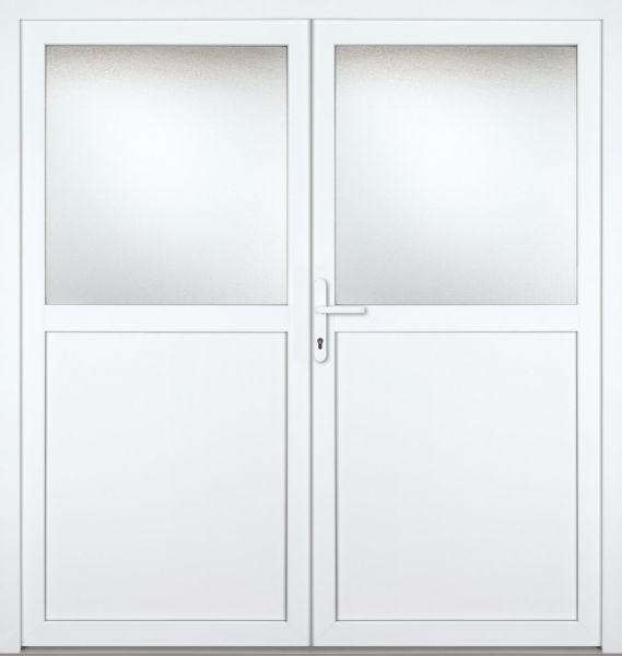 "Kunststoff-Aluminium Nebeneingangstür ""PAULA"" 70mm 2-flügelig Doppeltür symmetrisch"