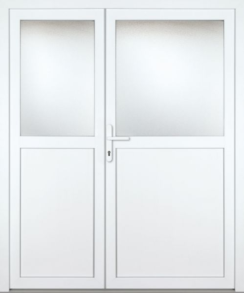 """Kunststoff Nebeneingangstür """"PAULA-M"""" 70mm 2-flügelig Doppeltür asymmetrisch"""