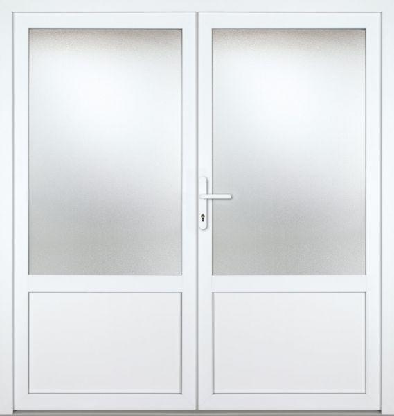 """Kunststoff-Aluminium Nebeneingangstür """"CELINE-M"""" 70mm 2-flügelig Doppeltür symmetrisch"""